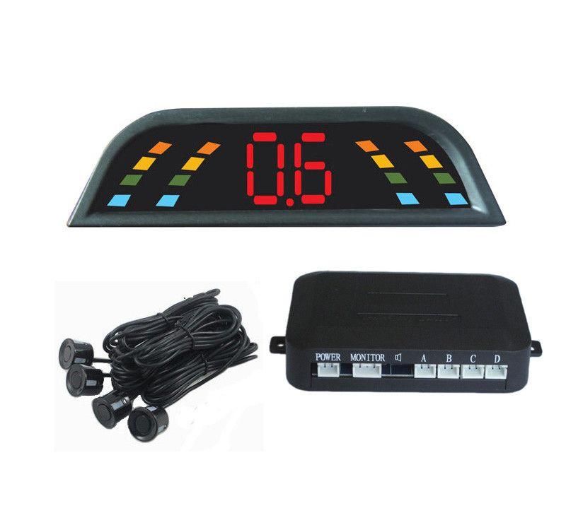 Car Reverse Assistance Backup Radar Monitor System 4 Sensors Led Parking Sensor  parking assistance auto part 6 colors