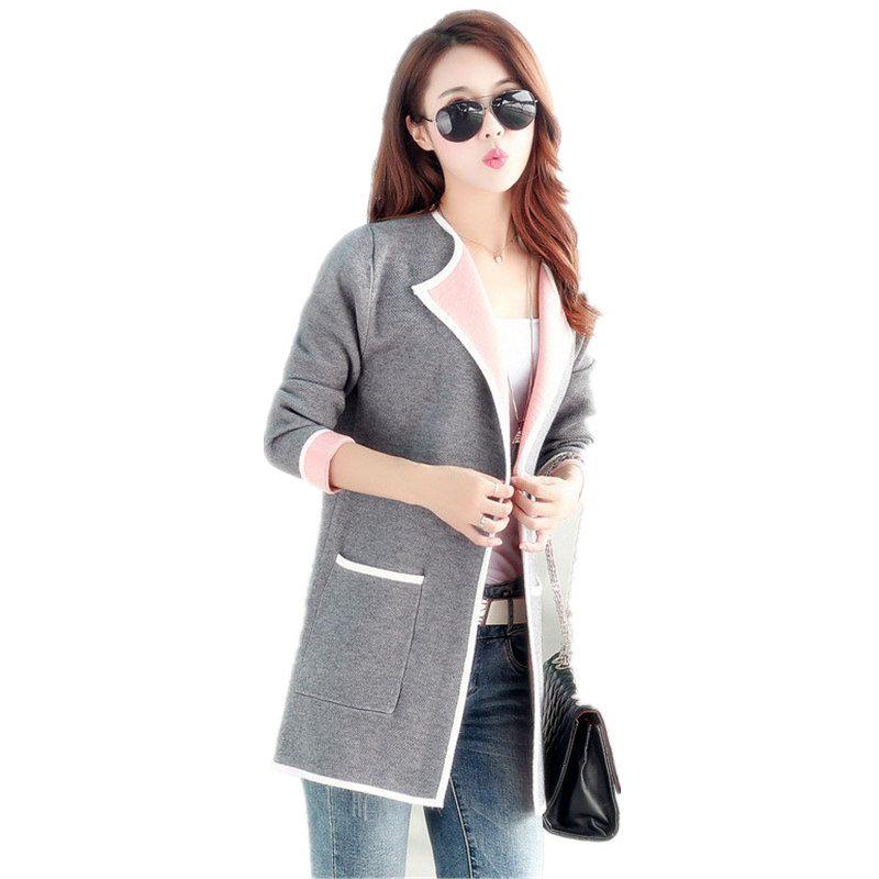 2019 cardigan femmes printemps et automne décontracté couture tricot pull jeune fille gris rose et rose longs chandails grande taille M-4XL