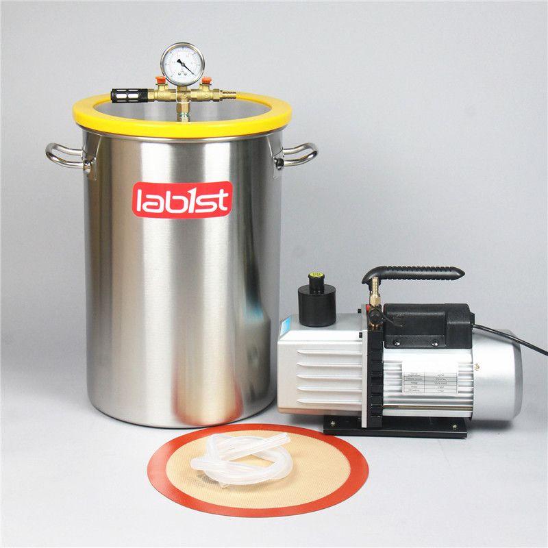 8,4 Gallonen (31,8 Liter) kammer + 2 bühne 6CFM (2,7 L/s) 220 V Vakuumpumpe Kit, 30 cm x 45 cm Edelstahl Vakuum Entgasung Kammer