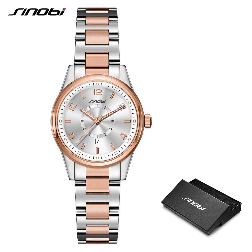 2019 SINOBI doré femmes genève montres mode Bracelet Montre-Bracelet Date marques célèbres dames Quartz Montre horloges Montre Femme