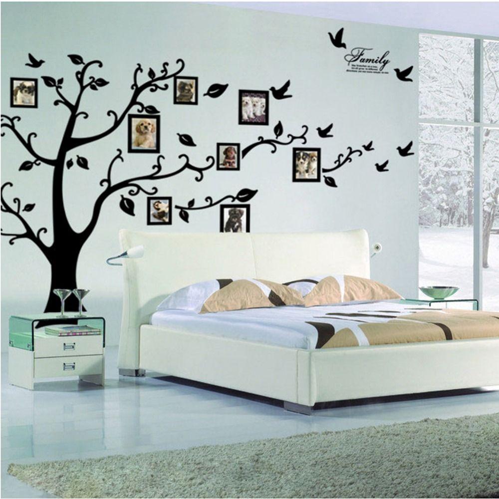 Grand arbre Sticker mural cadre Photo famille bricolage vinyle 3D Stickers muraux décor maison salon Stickers muraux arbre grande affiche noire