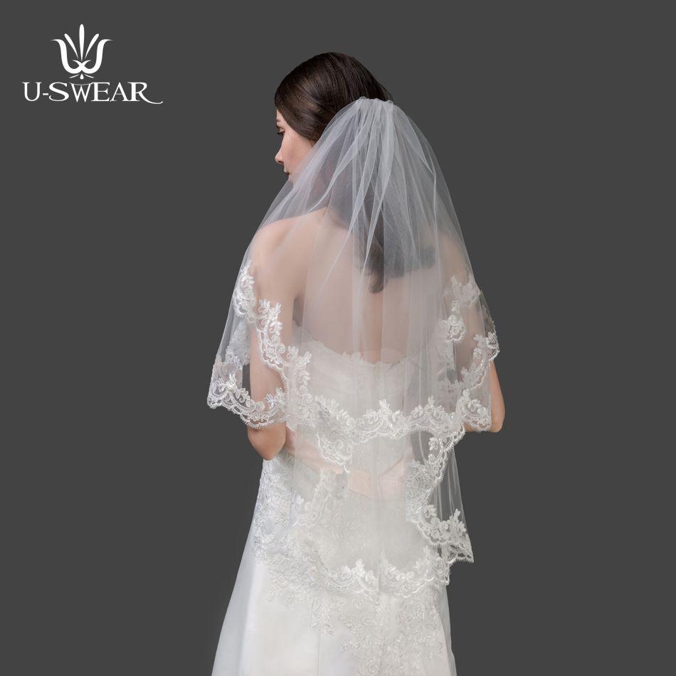 TSD1707108wedding veils short White wedding Bridal Short Fashion Bride Veil New Free Shipping ivory wedding veil cheap