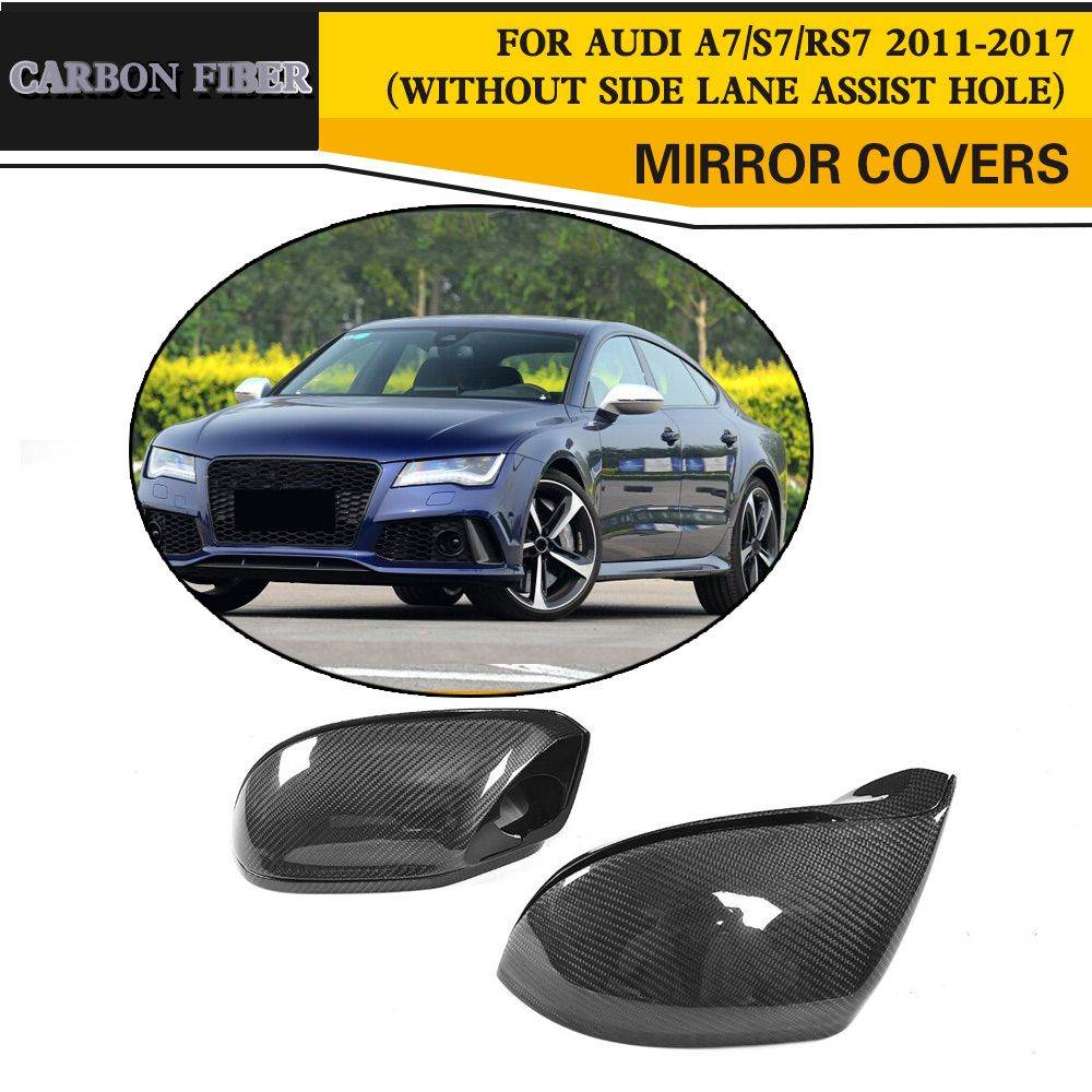 Carbon Fiber Replacement Rear View Side Mirror Covers Caps For Audi A7 S7 S Line RS7 Hatchback 4 Door 11-17 Without Side Assist
