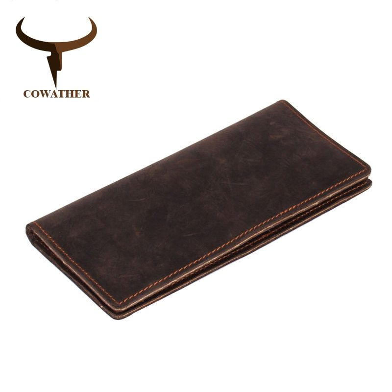 COWATHER 2017 new men wallets vintage cow crazy horse <font><b>luxury</b></font> leather good Manual male purse carteira masculina original brand