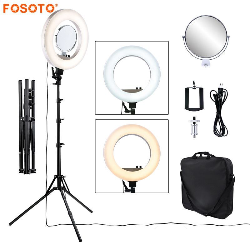 fosoto CY-R50L 18inch photographic lighting 480led 3200K-5500K Dimmable 55W Ring Light Lamp&Tripod Stand For Phone Video Camera