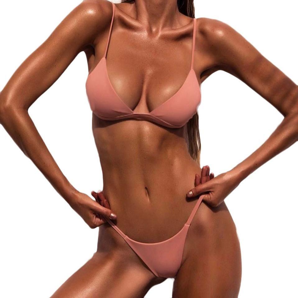 Maillot de bain pour femme 2019 femmes push-up rembourré soutien-gorge plage Bikini ensemble maillot de bain maillots de bain couleur pure maillots de bain taille haute biquini