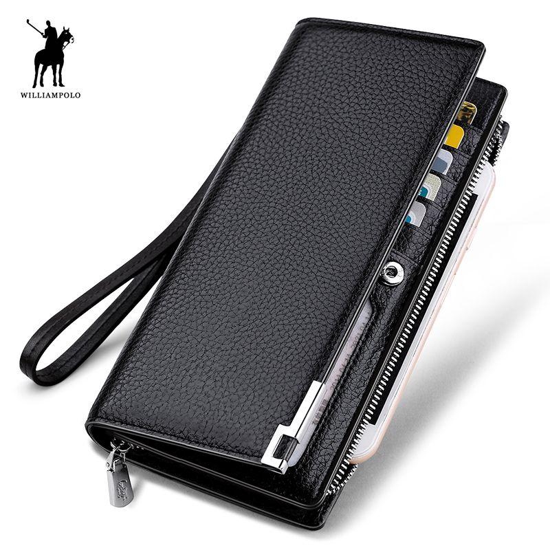 WILLIAMPOLO mode Long Design véritable portefeuille en cuir de vache homme métal coin téléphone portefeuille luxe portefeuille noir #129