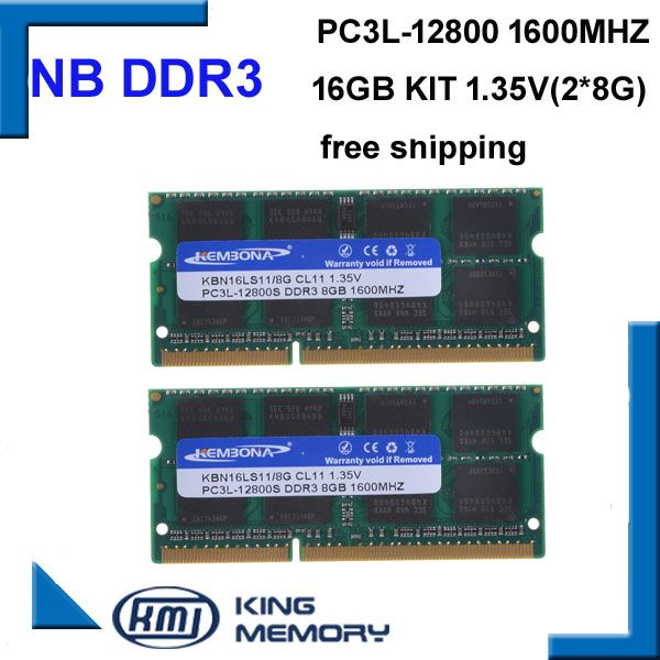 KEMBONA high quality and speed sodimm laptop ram DDR3L 16GB(kit of 2pcs ddr3 8gb) PC3L-12800 204pin ram memory 1.35v