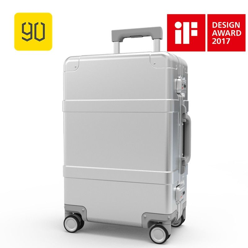 Xiaomi 90FUN Metal Luggage Aluminum Alloy Carry-Ons Rolling Luggage Suitcase High Strength Bag TSA Unlock Silver 20 Inch