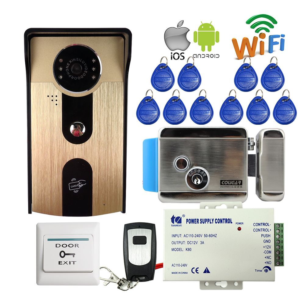 FREIES SHIPPPING RFID Zugang Drahtlose Wifi Video-türsprechanlage Intercom Outdoor Türklingel Kamera für Android IOS Telefon + Elektroschloss