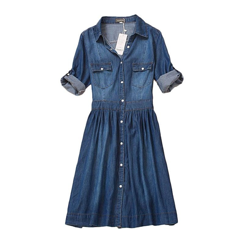 Haute qualité automne denim robe vêtements plus la taille femmes Jeans robe élégante printemps mince cowboy casual Robes robes