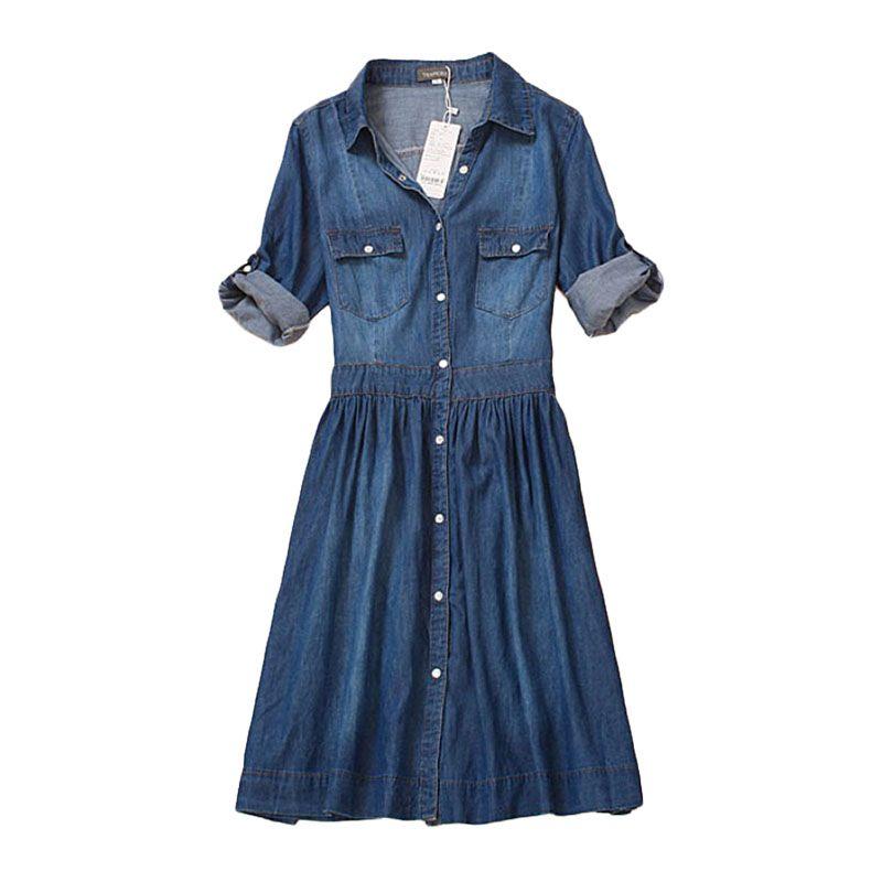 high quality autumn denim dress clothing plus size women Jeans dress <font><b>elegant</b></font> spring slim cowboy casual Dresses vestidos