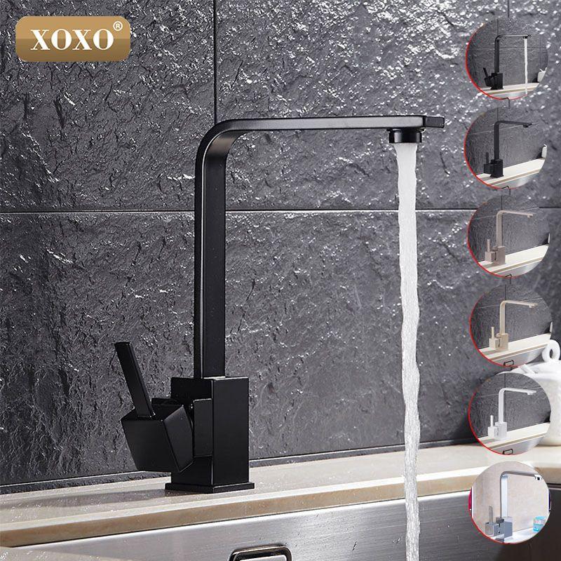 XOXO livraison gratuite poli noir laiton pivotant éviers de cuisine robinet 360 degrés rotatif cuisine mélangeur robinet 83030 H