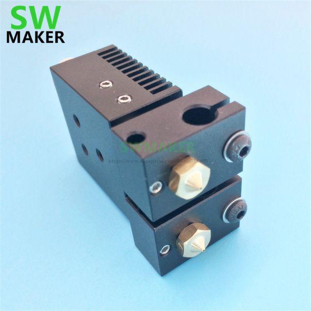 Neue Chimäre Plus + Dual extrusionskopf 2 in 2 V6 PT100 hotend kit 1,75mm 0,4mm für 3D drucker teile hohe qualität