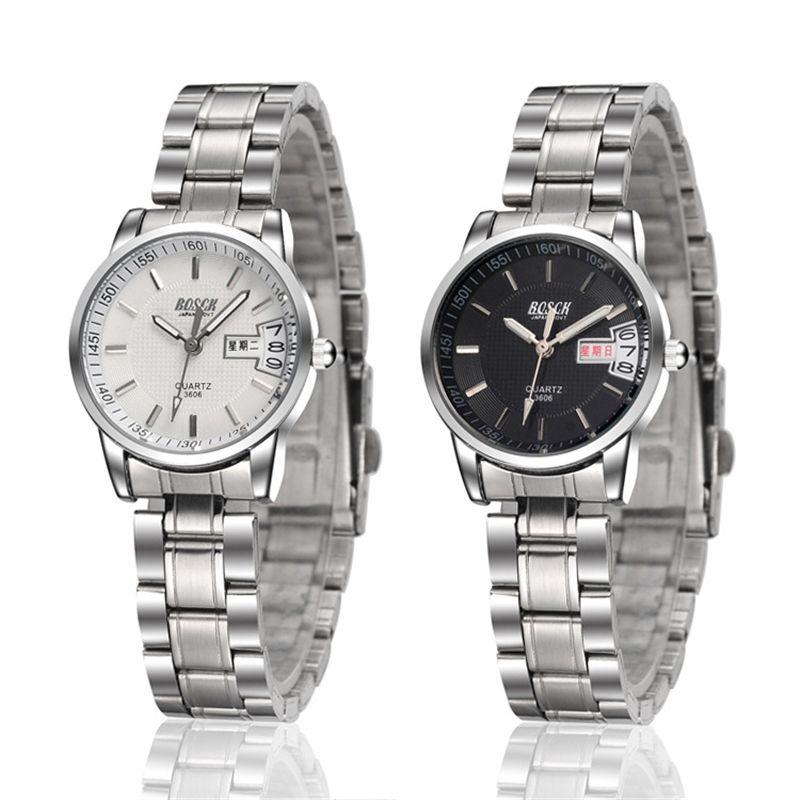 Men's and women's steel belt lovers gold casual diamond calendar business quartz watch