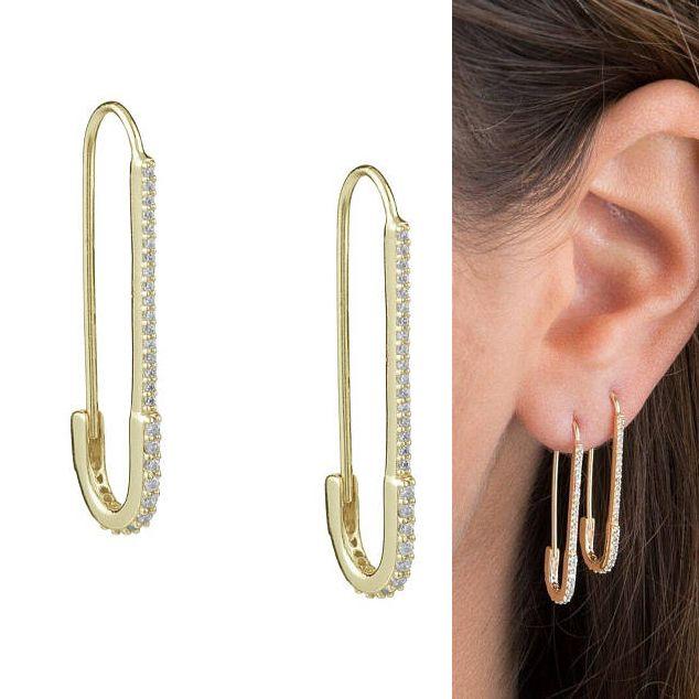 Unique concepteur trombone de sécurité goujons mode élégant femmes bijoux or rempli délicat cz boucle d'oreille 2018 nouveau
