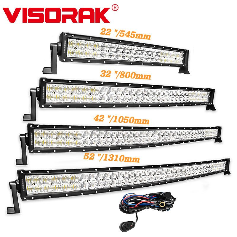 VISORAK 5D 22 32 42 52 Inch LED Light Bar 200W 300W 400W 500W Curved LED Work Light For Tractor Offroad 4WD 4x4 Truck SUV ATV