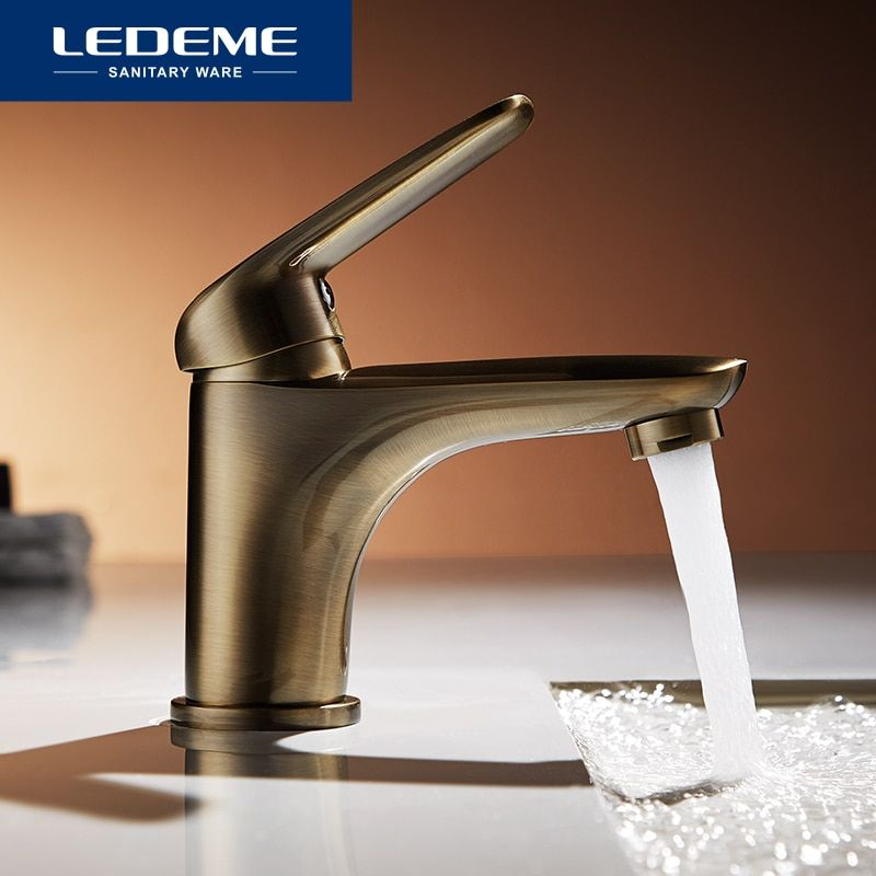 LEDEME Basin Faucets Plating bronze Tap Mixer Finish Brass Traditional Stylish Sink Water Modern Waterfall Faucets L1048C