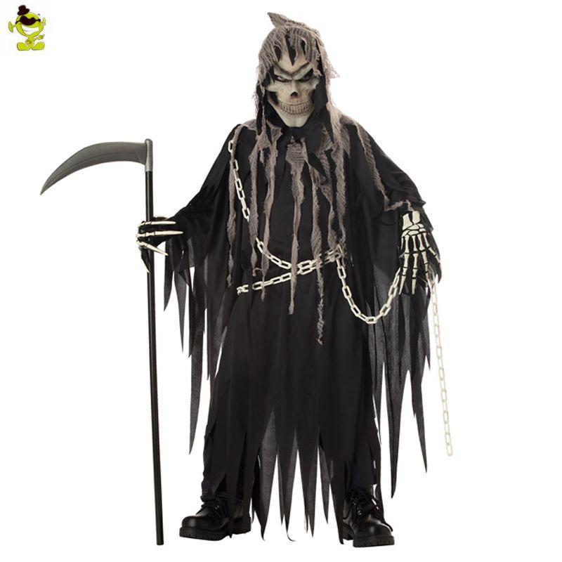 Boy's Halloween Mr.Grim Costume Cosplay Adult Children Horror Death Devil Halloween Cosplay