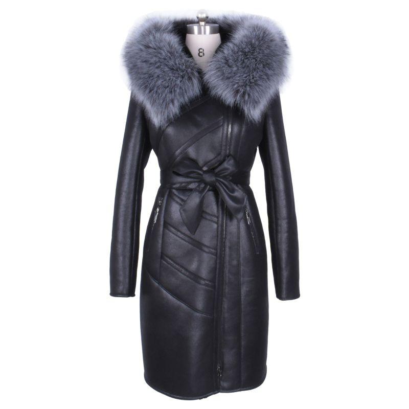 Пользовательские Оптовая Продажа с фабрики мода Лисий мех искусственный воротник и длинные участки зимние теплые новые женские пальто с ме...