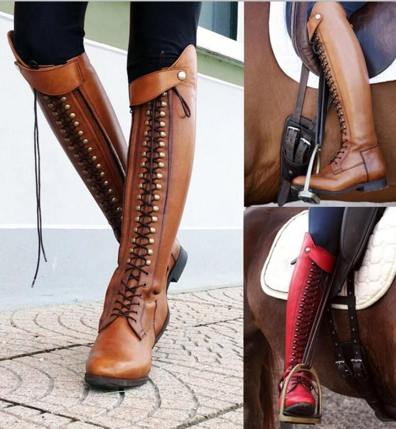 women knee high motorcycle boots lace up Matin shoes woman ladies chaussure heels gladiator zapatos mujer sapato booties TA0080