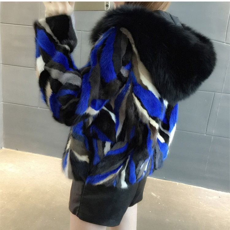 2018 new women natural piece mink fur jacket with hoody real fox fur collar genuine fur short coat winter warm femme outwears