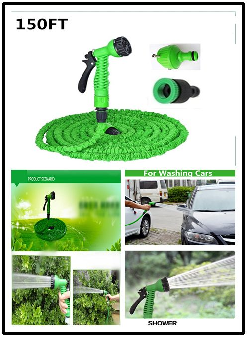 Garden Watering Hose Reels 150FT with Water Spray Gun Green Blue Expandable Magic X Hose 45M Garden Hose for Watering