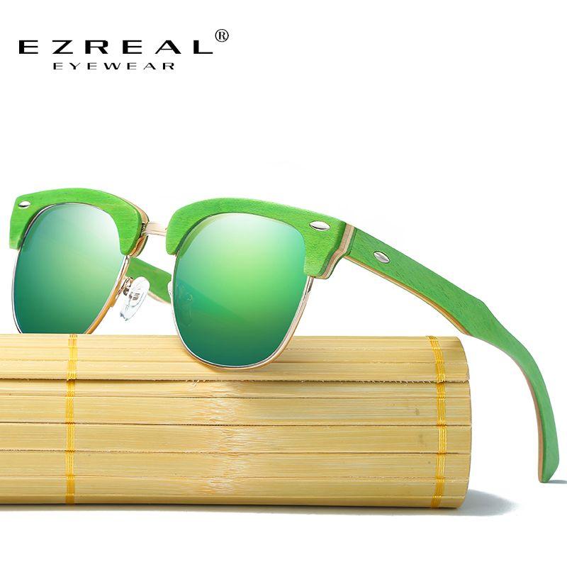 EZREAL New Half Wooden Polarized Sunglasses Men Women Brand Designer Glasses Mirror Sun Glasses Fashion Gafas Oculos De Sol