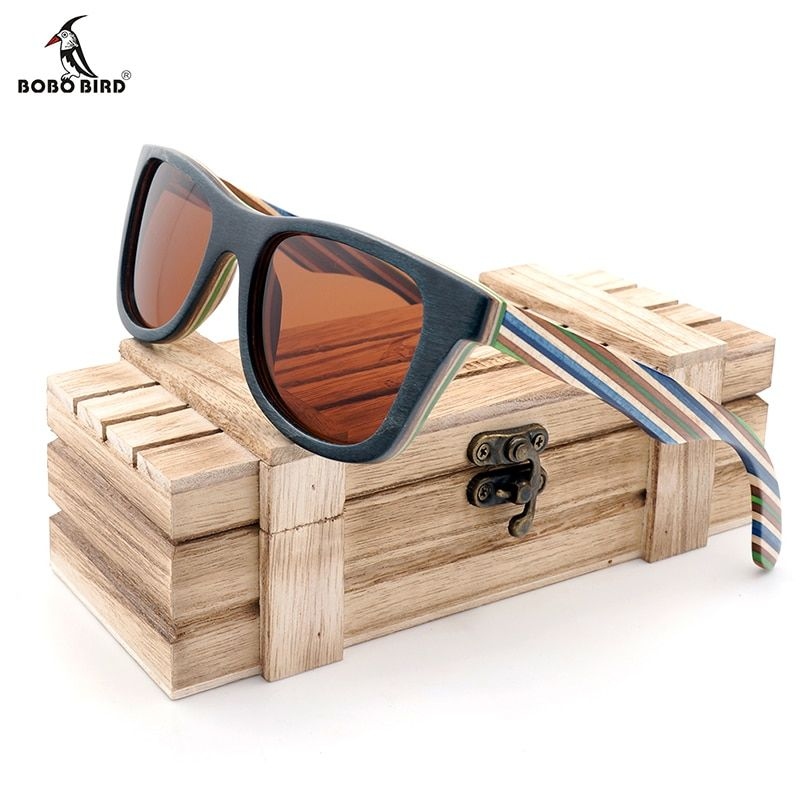 BOBO BIRD Polarized Sunglasses Women Men <font><b>Layered</b></font> Skateboard Wooden Frame Square Style Glasses for Ladies Eyewear In Wood Box