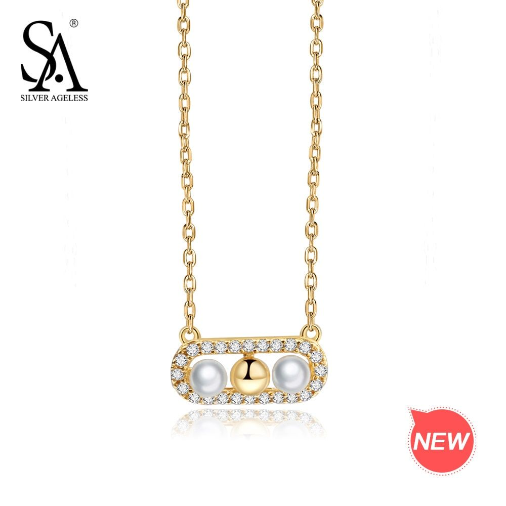 SILVER AGELESS 9K Yellow Gold Pendant Necklace for Women Shell Pearl Necklaces AAA Zirconia Chokers Necklaces For Women Lover