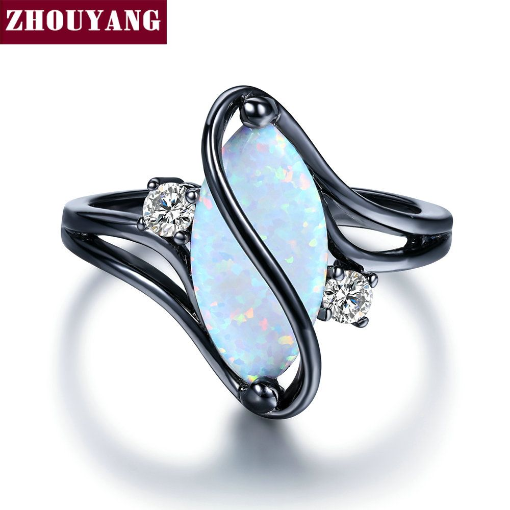 ZHOUYANG Ring For Women Oval Opal Stone Cubic Zirconia Black Gold Color Rings Fashion Jewelry Party Gift 2018 Hot Sale ZYR642