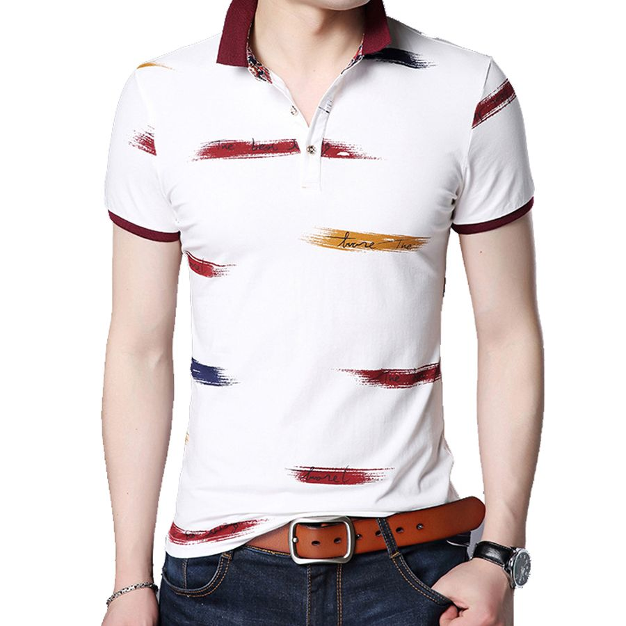 New Fashion Men Polo Shirt print Slim Fit Polo Men Mercerized Cotton Casual Polos Shirt Mens