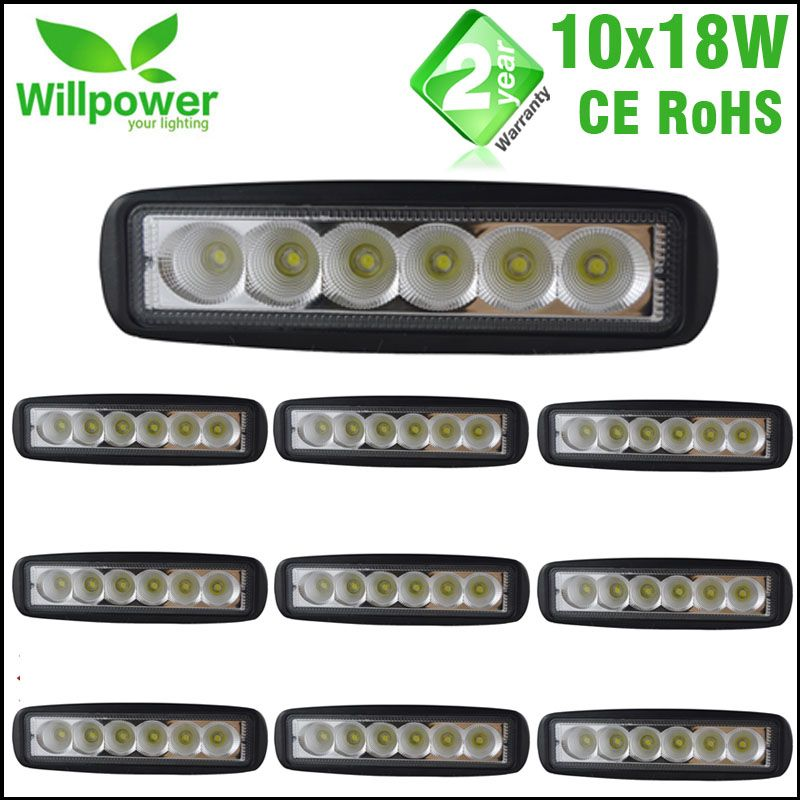 10 pcs 6 Inch Spot <font><b>Flood</b></font> single row 18W 4x4 truck offroad car LED work Light Bar for JEEP 12 volt