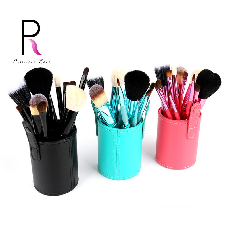 Princesse Rose 12 pcs Make Up Brush Set Pinceaux de Maquillage Kit Pinceis Maquiagem Pincel Pinceaux Maquillage + En Cuir Brosse Titulaire