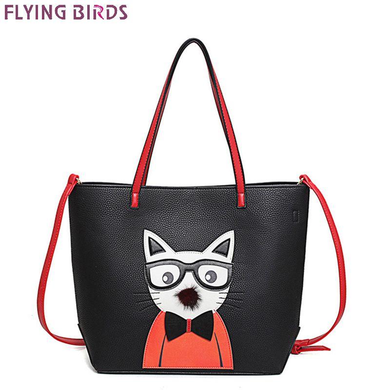 FLYING BIRDS Tote Famous Brand Cartoon Cute Ladies Shoulder Bag Women Leather Handbags Bolsas High Quality Women's Messenger Bag