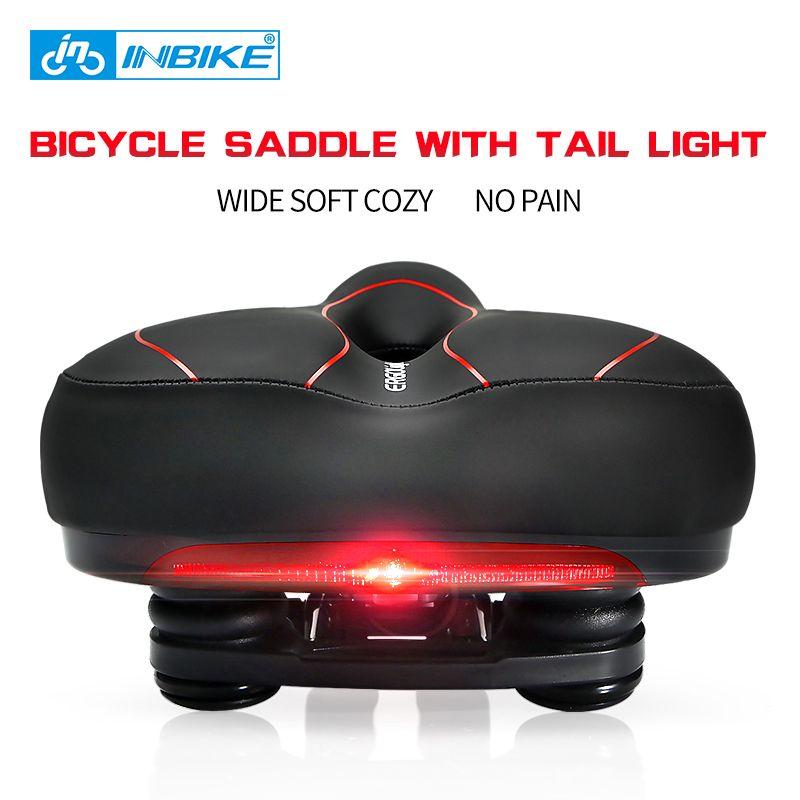 INBIKE Fahrrad Sattel mit Rücklicht Erweitern MTB Kissen Rennrad Weichen Bequemen Sitz Ersatzteile für Fahrräder almofada selle