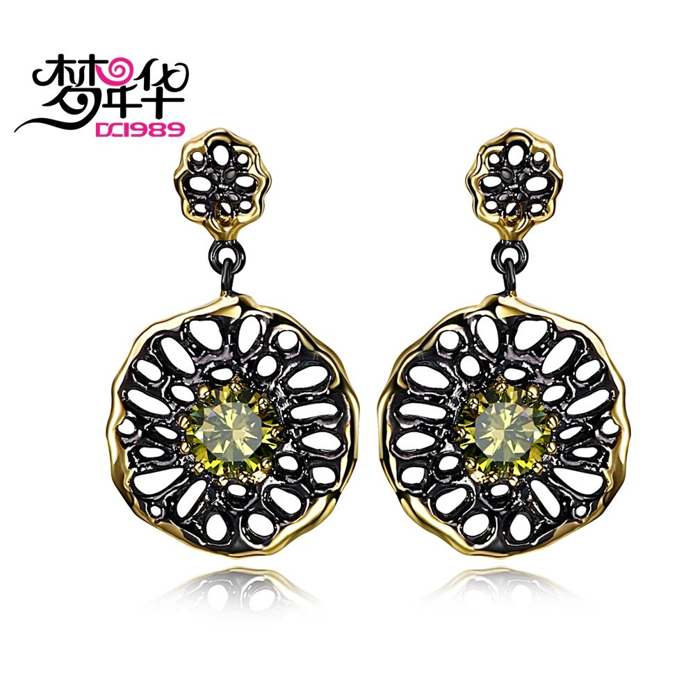 DC1989 Free shipping New Ethnic Flower design Gold black Color Cubic Zirconia Copper Lead free Drop earrings for women (E20)