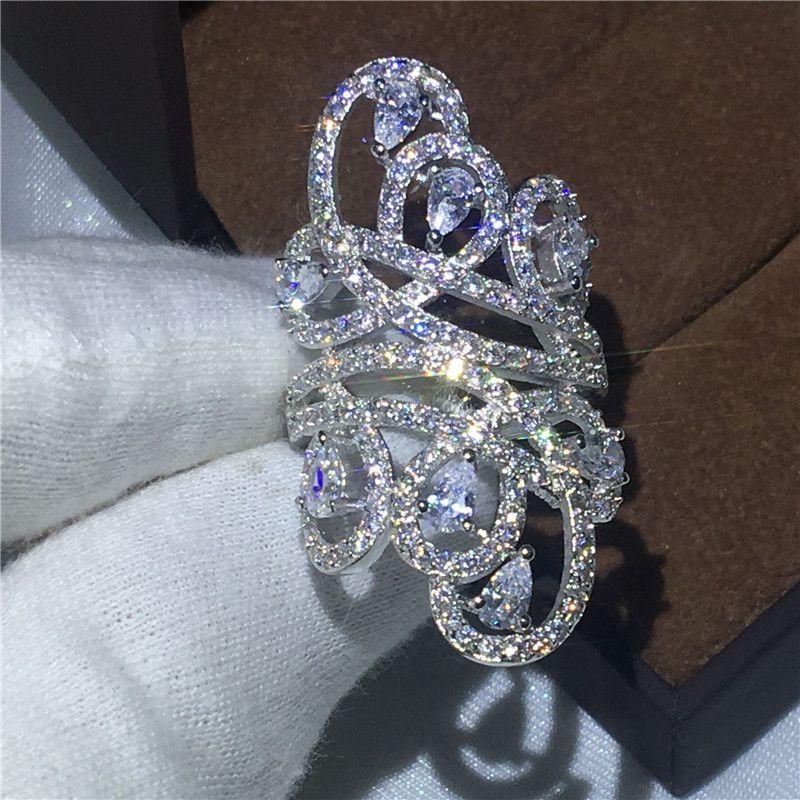 Victoria Wieck Cross line Women Fashion Diamonique Cz 925 Sterling silver Engagement wedding band ring for women Big jewelry