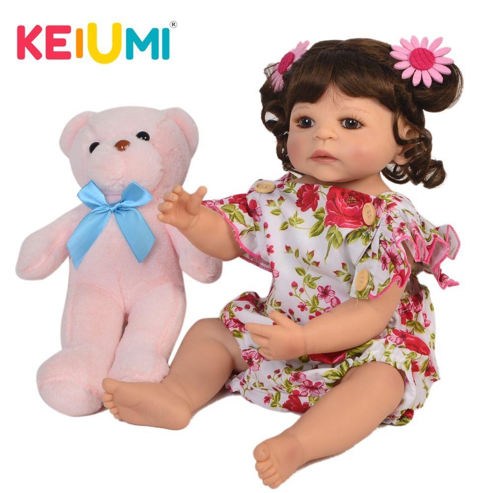 KEIUMI fait à la main Reborn bébé fille poupée 22 ''55 cm réaliste princesse nouveau-né bébés poupée pour enfant noël cadeau d'anniversaire jouet de douche