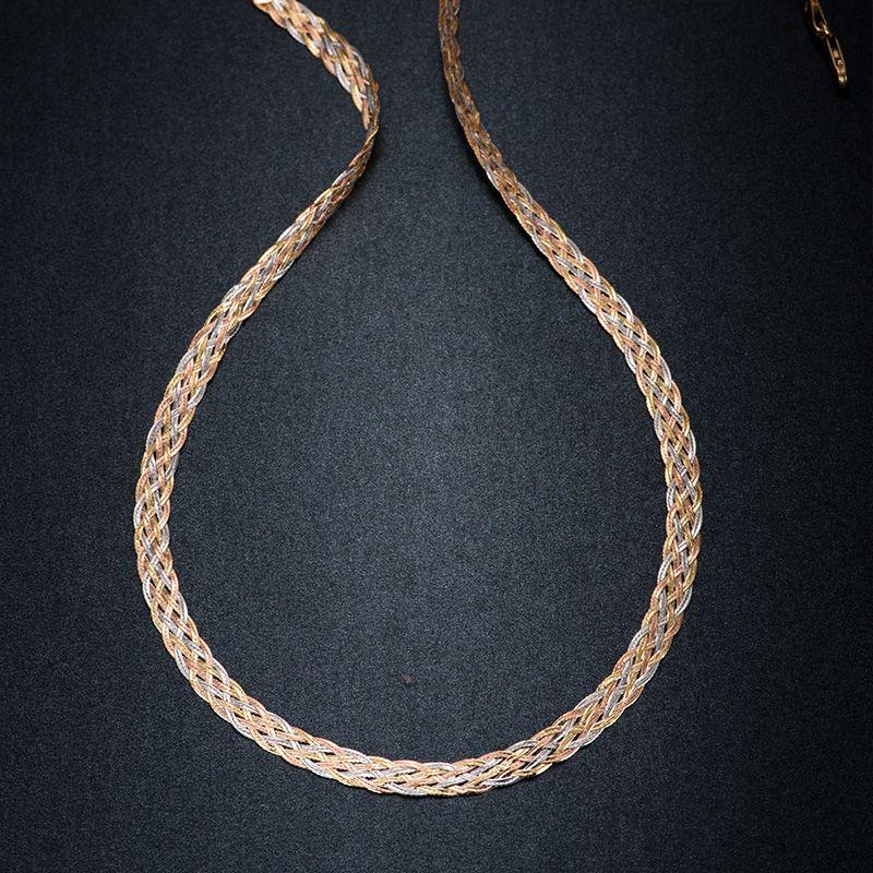 Halskette Für Frauen Männer Unisex 18 Karat Reinem Gold Weben Kette Flache breite kette Gestrickte Ketten Halskette Halsband Vintage Collares Mujer