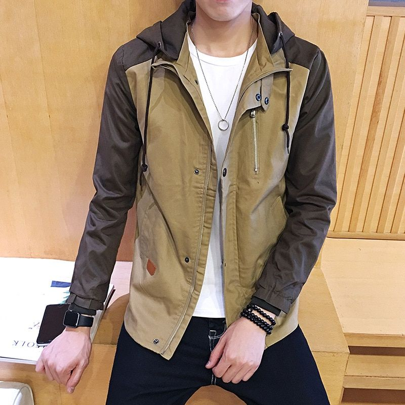 Mainly Male Long Single Breasted Trench Coat Men Cardigan With A Hood For Coats Fashion Pants 8Xl Knitted Pea Black Man 805