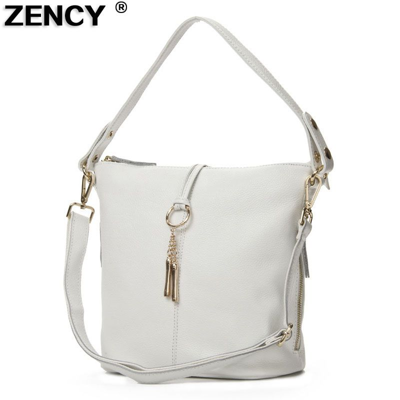ZENCY Fast Shipping 100% Genuine Leather Women Shoulder Bags Female Small Handbag Ladies' Cross Body Messenger White Beige Bag