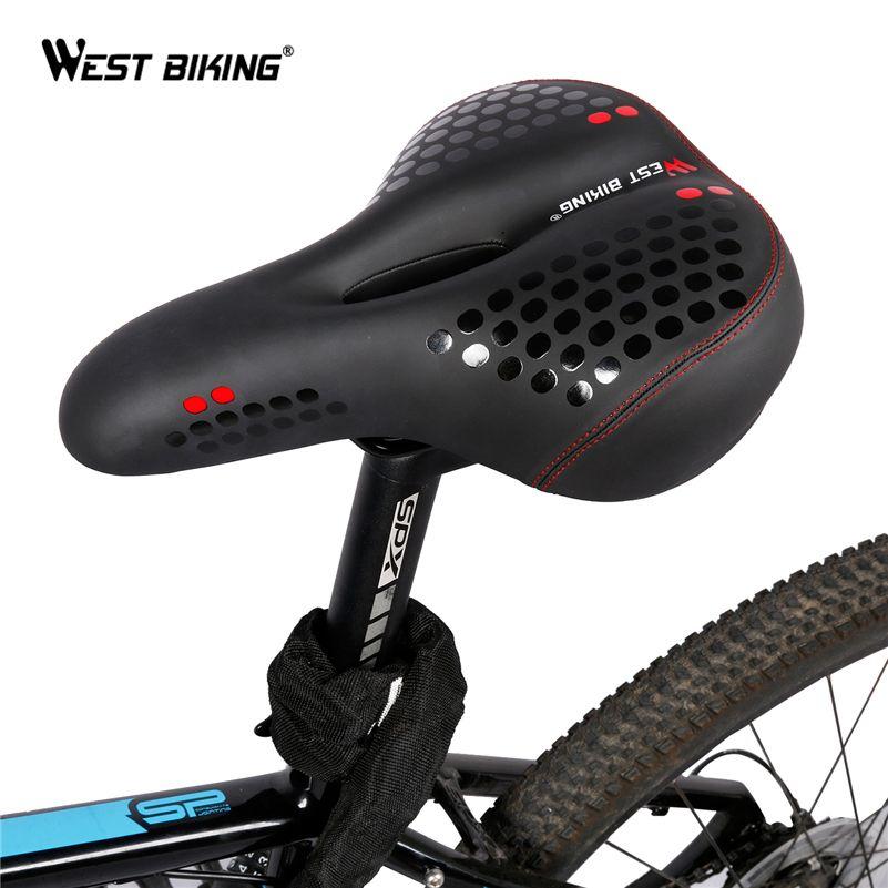 WEST BIKING Wide Bicycle Mat Cycling Saddle Comfortable Seat Mat MTB Bike Cushion With Warning Taillight Ride Bicycle Saddle