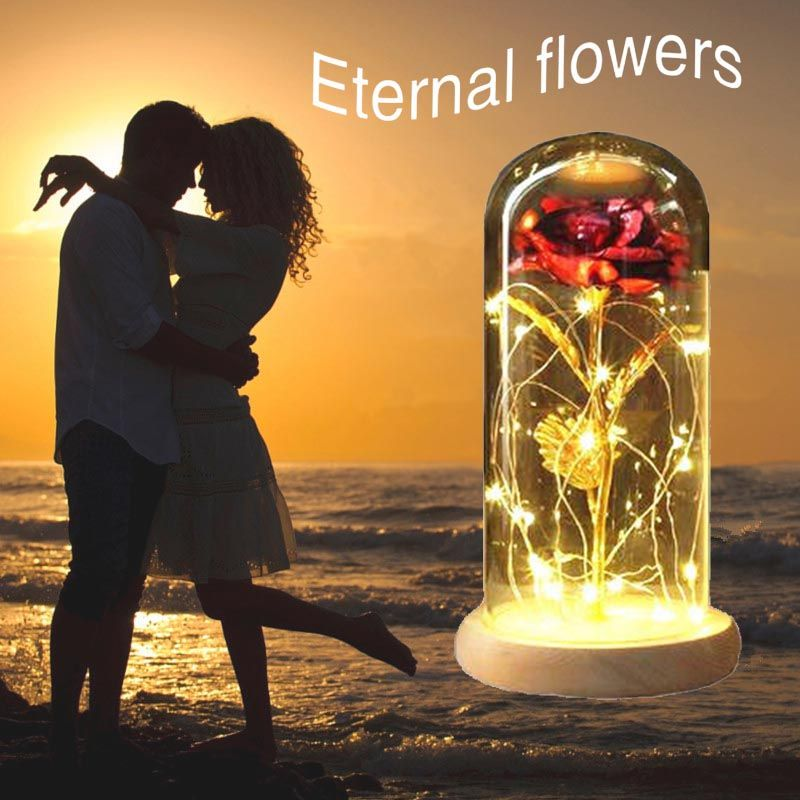 LED light Red Ro se Purple Ro se in Glass Dome For Valentine Gift Mother's Day Gift