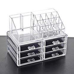 New Clear Acrylic Makeup Storage Case Nail Polish Rack Lipstick Cosmetic Storage box Holder Makeup Brush Makeup Organizer
