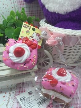 1PC Original Package Rare Hello Kitty Squishy Sweet Cake Squishy Phone Charm Pink Food Toys Stress Release Toys Strap Squishies