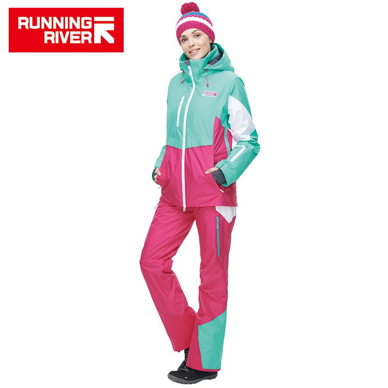 RUNNING RIVER Brand women High Quality Ski Jacket Winter Warm Hooded Sports Jackets Professional Outdoor ski suit #N6414O6444