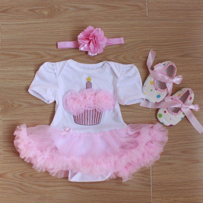 Barboteuses bébé 3 pièces ensemble de vêtements pour bébé filles blanc rose Cupcake anniversaire Tutu robe Jumpersuit bandeau chaussures
