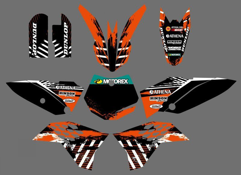 0534 NEW STYLE Net (Orange & Black)TEAM GRAPHICS & BACKGROUNDS DECALS STICKERS Kits for KTM 65 SX 2009 2010 2011 2012