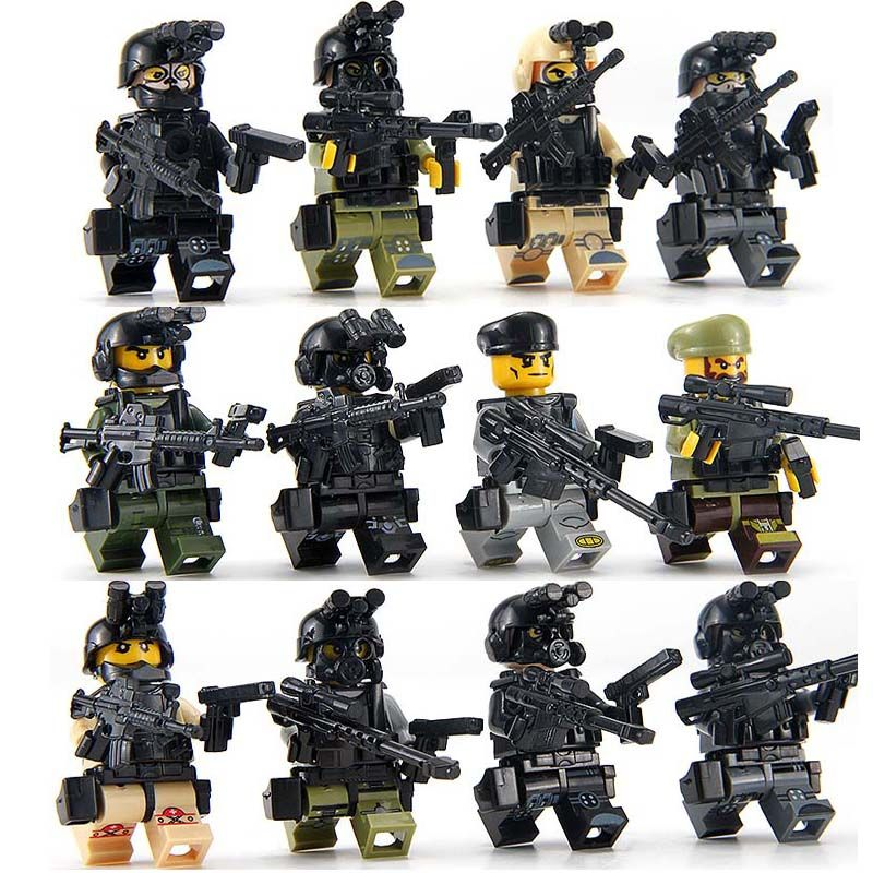 Special Forces SWAT compatible with LegoINGLys LEGO Modern Military Maze Mini Seats Kids Toy Gifts 12PCS